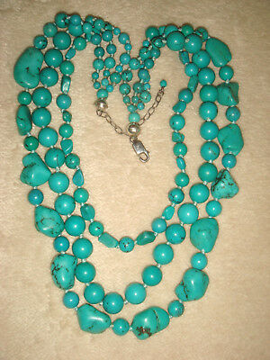 VTG. STERLING SILVER 3 tier GRADUATED PERSIAN TURQUOISE KNOTTED BEAD NECKLACE