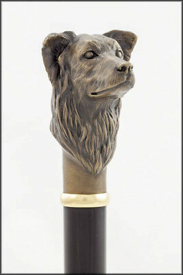 Border Collie collectable dress cane - Bronze head, Aluminium shaft.