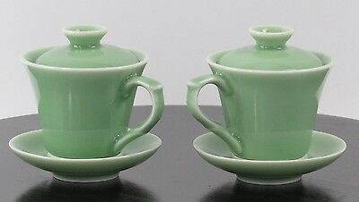 Chinese Longquan Celadon Coffee Tea Cup Saucer Lid Cover Set Porcelain Greenware