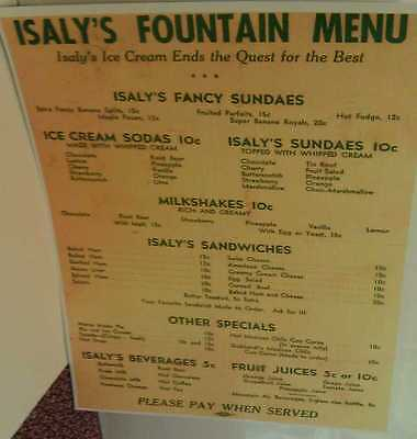 1920s Isaly's Dairy Fountain Menu Ice Cream Sodas & Sundaes 10 cents Repo Poster