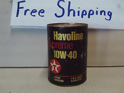 VINTAGE Texaco Havoline one quart qt oil can unopened == FREE SHIPPING ==