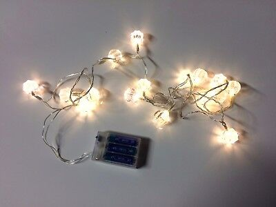 x16 Christmas Clear Gem String Fairy Lights Warm White Battery - 2.4M Clear Wire
