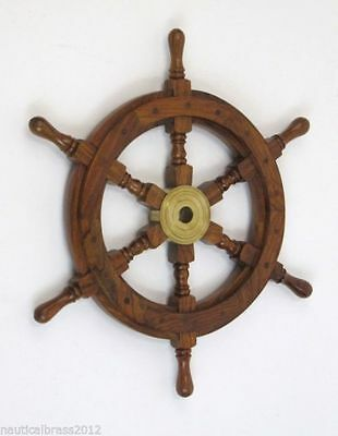 Wooden Ship Wheel 24 Inch Nautical Pirate Home Decorative