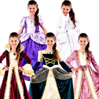Royal Ball Gown Girls Fancy Dress Romany Story Book Day Childs Kids Costumes New