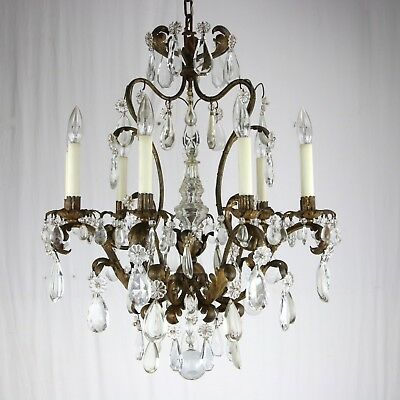 A Louis XV Gilt Bronze 6-Light Chandelier Antique French Crystal Prisms Italian