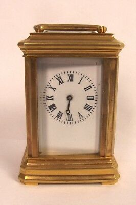 20th Century Miniature Brass Carriage Cased Clock