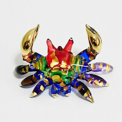 Crab Animal Figurine Hand Paint Blown Glass Art Home Decorate Collectible Gift