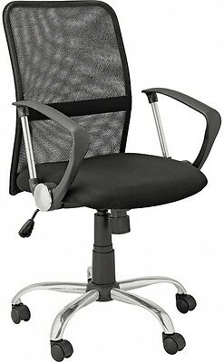 Mesh Gas Lift Mid Back Adjustable Office Chair - Black