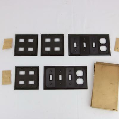 5 VTG Brown Bakelite Art Deco Low Voltage Combo Light Switch Plates Rare NOS