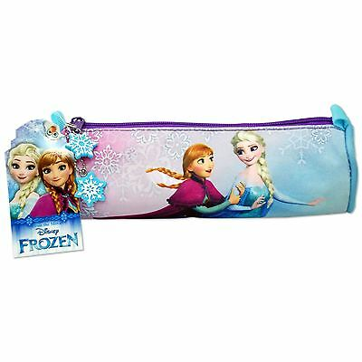 Disney Frozen Girls Purple Round Tube Pencil Case Stationary Anna Elsa