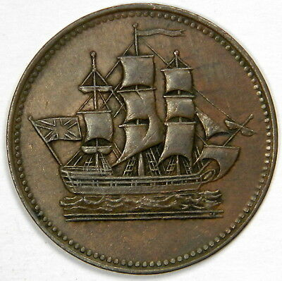1830 Canada ½ Penny Ships Colonies & Commerce - Club Knob Ampersand!