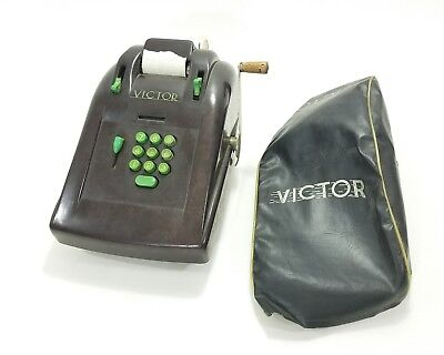 1940's Victor Bakelite Adding Machine Brown with Green Buttons Tested Works!