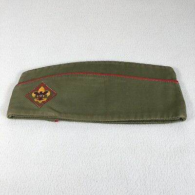 BSA Hat Cap Vintage Large With Patch Garrison Hat Green with Red Stripe
