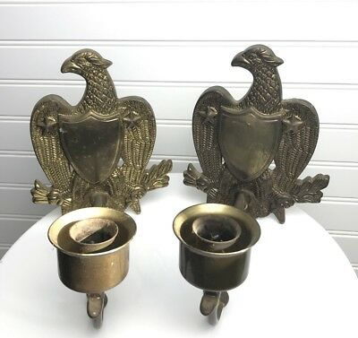 Vintage Heavy Brass American Eagle Wall Candle Sconces Federalist Set 2