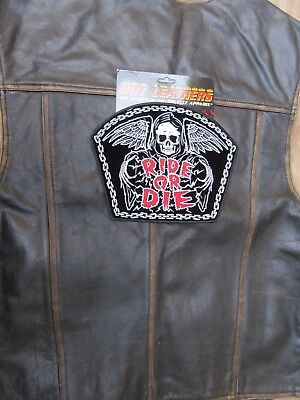 Patch écusson dorsal tête de mort,chaine ride or die harley, moto;country,biker,