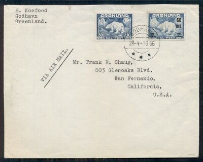 GREENLAND 1956 30ore + 60ore Ovpt POLAR BEAR tied GODHAVN on commercial cover