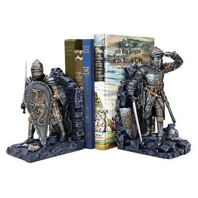 Knight Bookends Arthurian Crusaders Camelot Chivalry Sculptures Medieval Decor