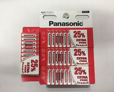 40 x AAA Genuine Panasonic  Zinc Carbon Batteries - New R03 1.5V Expiry 02/2020