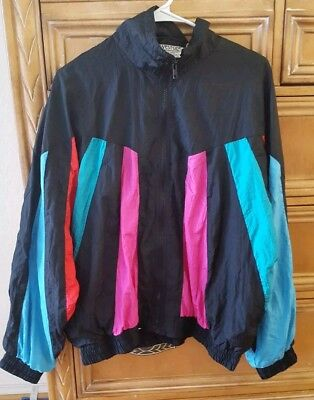 Womens Vintage Westside Connection 80's Colorblock Lined Windbreaker Jacket  XL
