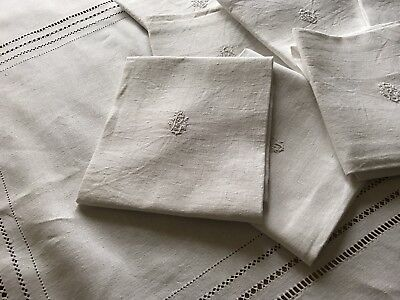 "Antique French Linen Napkins & Tablecloth - Set Of 18 Napkins - ""bc"" Monogram"