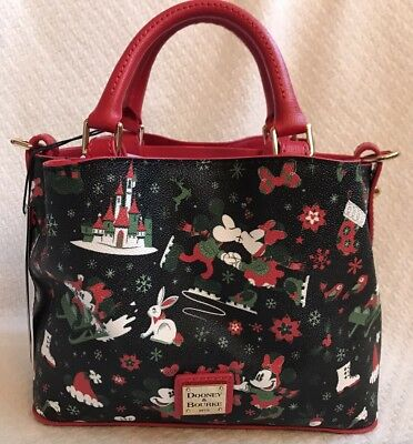 Disney Dooney & and Bourke Christmas Woodland Winter Holiday Tote Purse Bag 8