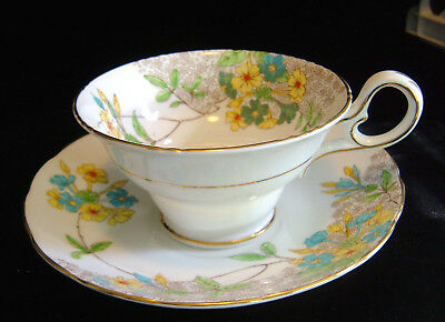 Spode Copelands China Hand Painted Blue Yellow Four O' Clock's Tea Cup & Saucer