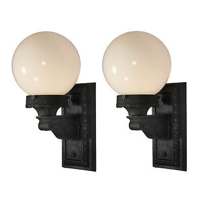 Neoclassical Exterior Sconces with Glass Globes, Antique Lighting, NSP1292