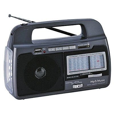 NEW Supersonic SC-1082 AM/FM/SW 1-7 9-Band Rechargeable Radio+USB/SD+Flashlight