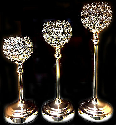 Stunning Set of 3 Candle Holders Centre Piece Diamante Crystal Gold Mesh Gift UK