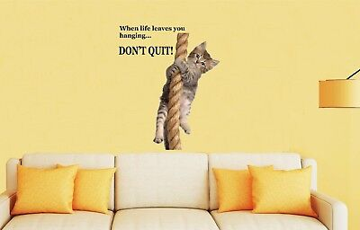 CAT HANGING ONTO ROPE - DONT QUIT Wall Art Stickers - glass, ceramics, UK SELLER
