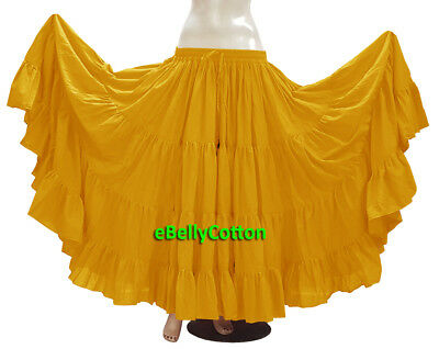 384a53c1be Golden Skirt 25 Yard 4 Tier Cotton Belly Dance Tribal Gypsy Flamenco Jupe  ATS