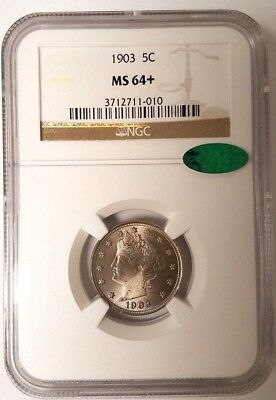1903 Liberty Nickel - Ngc - Ms 64+ - Cac Sticker - New Style Holder