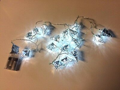 x16 Christmas Diamond Shaped Fairy Lights White DEL Battery - 2.45m Clear Wire