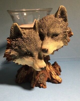Westland Giftware WOLVES Candleholder #986 (2002) ~ Gray Brown Ivory Tree Stump