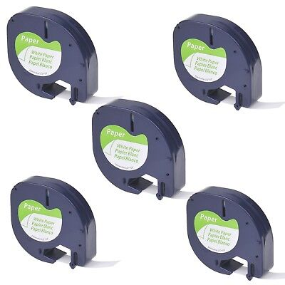 "5PK Paper Label Tape fit for DYMO Letra Tag LT 91330 Black on White 1/2"" 12mm"