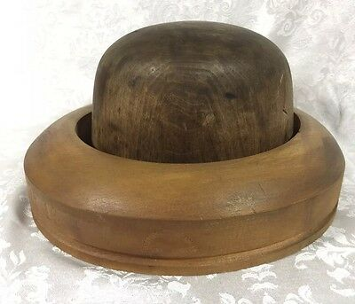Antique Hatters Supply House Millinery Wood Hat Block Mold Brim Form