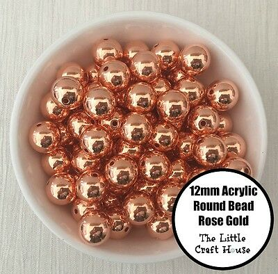 50PC 12mm Acrylic Beads Round Rose Gold Spacer Bead Shiny Plastic Bubblegum DIY