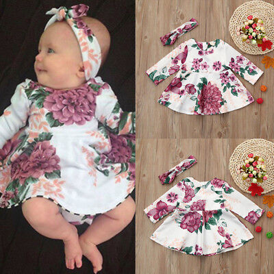 2PCS/Set Newborn Baby Kid Girl Floral Party Wedding Princess Tutu Dress+Headband