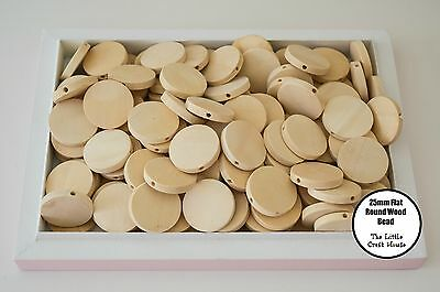 15 x 25mm Round Wood Flat Bead Natural Unfinished Wooden Beads Coin Unpainted