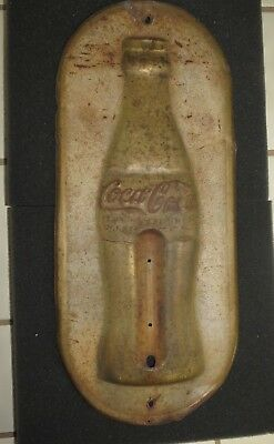 Vintage 1923 Metal Coca Cola Bottle Thermometer Sign - Christmas Day 1923