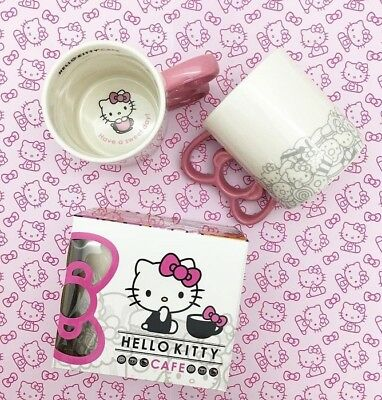 Exclusive Mug Cup Hello Kitty Pop Up Cafe Ceramic Pink Bow Pin+Sticker CUTE GIFT