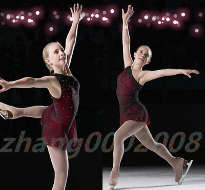 Ice skating dress.Competition Figure Skating dress.Black Red Twirling Costume