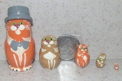 Cats with Hat * Orange or Grey * Russian Mini Nesting Doll * 5 Pc / 1.5 in