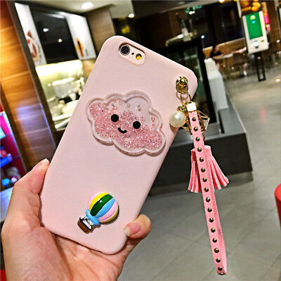 Cute Fashion Bling Glitter Pink Clouds Strap Case Cover Fits iPhone