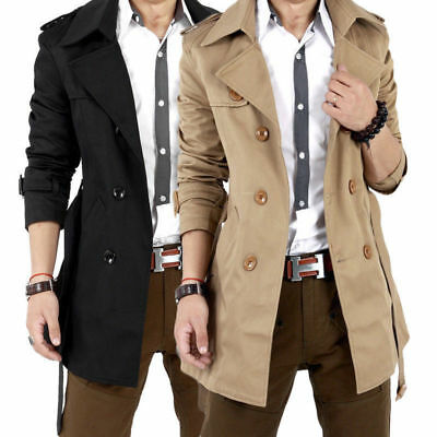Men's Double Breasted Trench Coat Long Tall Slim Jacket Overcoat Outwear Winter