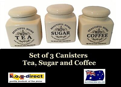 Set Of 3 Canister Set Tea Coffee And Sugar Country Style Hw-15