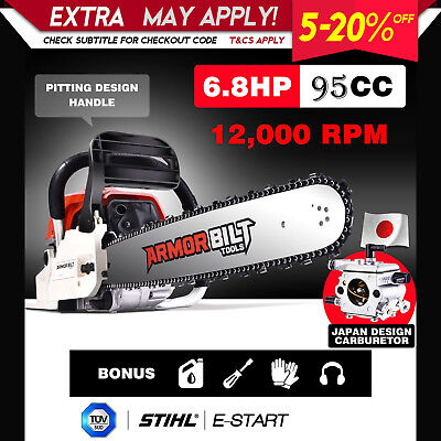 """95cc Chainsaw 24"""" Bar Petrol Commercial Chain Saw Hedge E-Start Tree Pruning"""