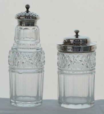 Solid silver and cut glass mustard and pepper pots - London 1827