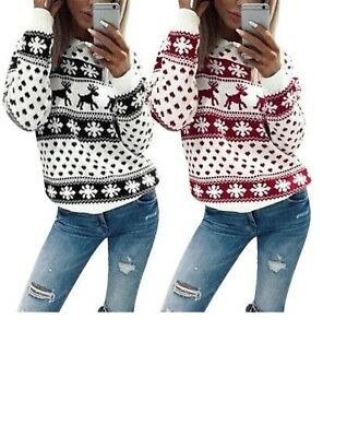Women Loose Tops Long Sleeve Pullover Casual Blouse Shirt Xmas Jumper Sweater