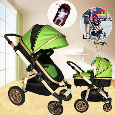 2017 NEW 4 in 1 Baby Toddler Pram Stroller Foldable Buggy Jogger With Bassinet